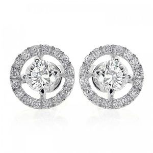 1.80 Carat Diamond Halo Stud Gold Earrings
